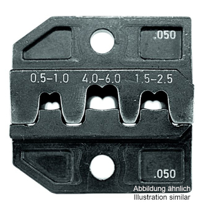 Crimp die set Junior-Power-Timer with locator and wire stop, cable range 0.50-2.50mm², with wire stop and terminal support