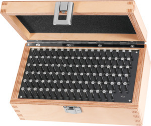 Test pin set in a wooden box Tolerance class 2, Type: 81