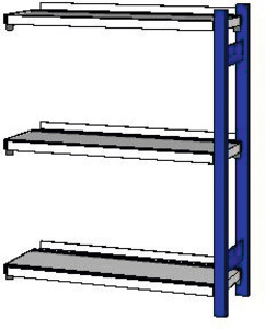 Add-on filing rack with 1 column frame, Depth 325 mm, Height: 1200 mm